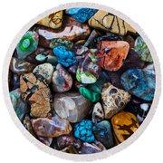 Beautiful Stones Round Beach Towel by Garry Gay