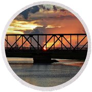 Beautiful Sunset Bridge  Round Beach Towel