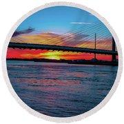 Beautiful Sunset Under The Bridge Round Beach Towel