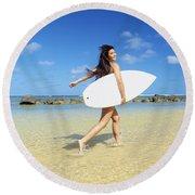 Beautiful Surfer Girl Round Beach Towel