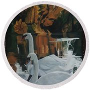 Beautiful Swans Moving In The River Path Round Beach Towel