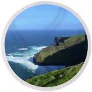Beautiful Sweeping Views Of Ireland's Cliff's Of Moher Round Beach Towel