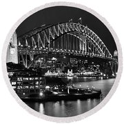 Beautiful Sydney Harbour In Black And White Round Beach Towel