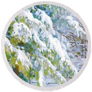 Beautiful Trees Covered With Snow In Winter Park Round Beach Towel