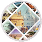 Beautiful Vacation Collage  Round Beach Towel