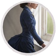 Beautiful Victorian Woman At The Window In A Blue Bussle Dress Round Beach Towel