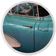 Beautiful Vintage Blue Shining Car Close Up Round Beach Towel