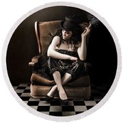 Beautiful Vintage Fashion Girl In Grunge Interior Round Beach Towel by Jorgo Photography - Wall Art Gallery