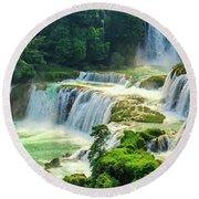 Beautiful Waterfall Crystal Waters Round Beach Towel