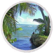Beautiful Waters Of Puerto Rico Round Beach Towel