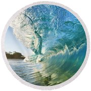 Beautiful Wave And Sunlight Round Beach Towel