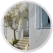 Beautiful White Mediterranean Architecture With Blue Frames. Round Beach Towel