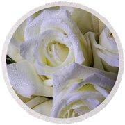 Beautiful White Roses Round Beach Towel