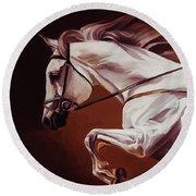 Beautiful White Running Horse 9iu Round Beach Towel