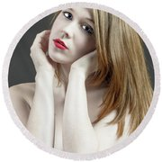 Beautiful White Woman On Red Chair Round Beach Towel