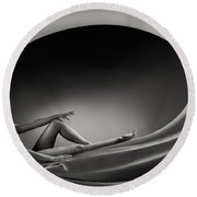 Beautiful Woman In A Whirl Of Power Round Beach Towel