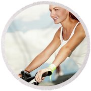 Beautiful Woman On The Bicycle Round Beach Towel