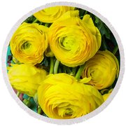 Beautiful Yellow Ranunculus Round Beach Towel
