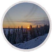 Beautiful Yellowknife Sunrise Round Beach Towel