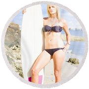 Beautiful Young Blond Surf Woman Round Beach Towel