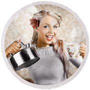 Beautiful Young Retro Woman With Cup Of Coffee Round Beach Towel