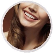 Beautiful Young Smiling Woman Round Beach Towel by Oleksiy Maksymenko