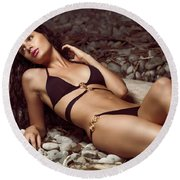 Beautiful Young Woman In Black Bikini On A Pebble Beach Round Beach Towel by Oleksiy Maksymenko