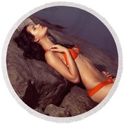 Beautiful Young Woman In Orange Bikini Round Beach Towel
