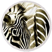 Beautiful Zebras Round Beach Towel