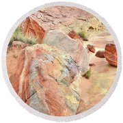 Beautifully Colored Boulders In Wash 3 - Valley Of Fire Round Beach Towel