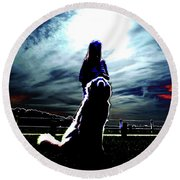 Beauty And The Beast Round Beach Towel