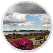 Beauty And The Bench Round Beach Towel
