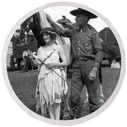 Beauty And The Cowboy Round Beach Towel