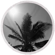 Beauty And The Palms In  Dominican Republic  Round Beach Towel