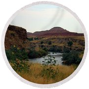 Beauty At The Big Horn River Round Beach Towel