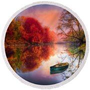 Beauty At The Lake Round Beach Towel by Debra and Dave Vanderlaan