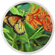 Beauty Attracts Round Beach Towel