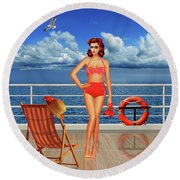 Beauty From The 50s In Bikini  Round Beach Towel