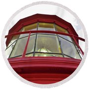 Beauty In The Lighthouse Lens Round Beach Towel