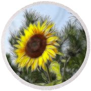 Beauty In The Pines Round Beach Towel