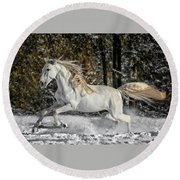 Beauty In The Snow Round Beach Towel