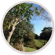 A Country Landscape  Round Beach Towel