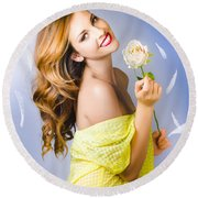 Beauty Of Romance Floating In The Summer Breeze Round Beach Towel