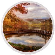 Beauty Of The Lake In Autumn Deep Tones Round Beach Towel