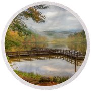 Beauty Of The Lake Oil Painting  Round Beach Towel