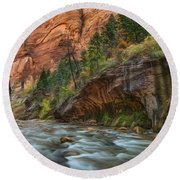 Beauty Of The Narrows Round Beach Towel