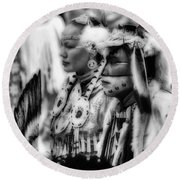 Pow Wow Beauty Of The Past Round Beach Towel
