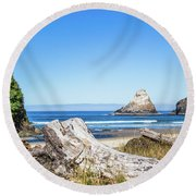Beauty On The Pacific Coast Round Beach Towel