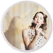 Beauty Parlour Pinup Round Beach Towel