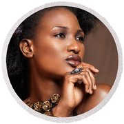 Beauty Portrait Of Black Woman Wearing Jewelry Round Beach Towel